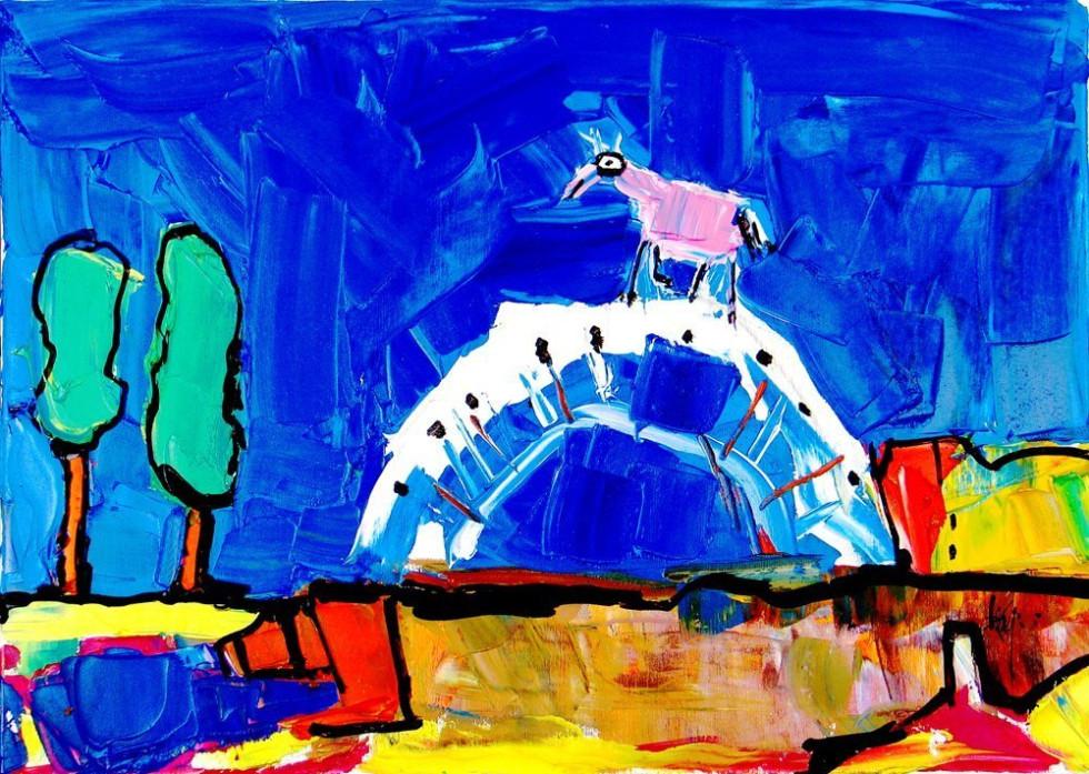 HORSE CROSSING A BRIDGE
